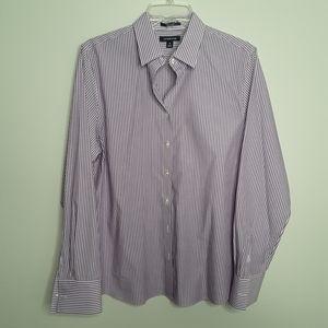 Lands' End  Lavender stripe button up shirt
